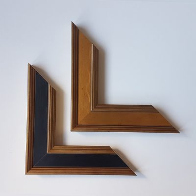 Gold, gold and black stepped frame moulding